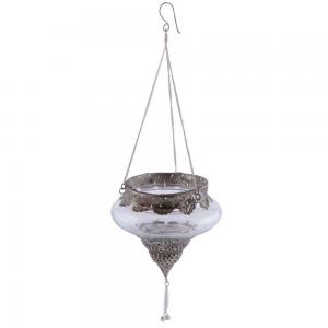 Pendente de Vidro Decorativo com Metal Trabalhado 15X16X16CM