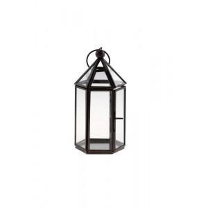 Lanterna de Metal e Vidro Hexagono 8X9X17 cm