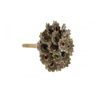 Puxador Floral Em Metal c/ Pedras A5xD5 cm