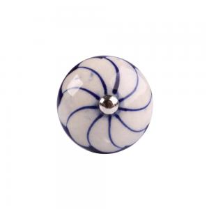 Puxador em Cerâmica Azul com Flor Branca 4x4x4 cm