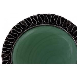 Puxador Cerâmica Verde c/ Acabamento em Metal 3X3X2CM