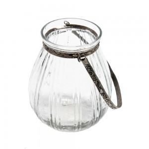 Cachepot em Vidro com Alças de Metal Prata Grande A12xD10 cm