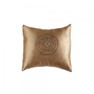 Capa em Almofada em Poliéster Dourada Bordada com Miçangas A40xL40 cm