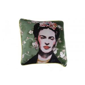 Capa de Almofada em Algodão Verde c/ Estampa Frida A45xL45 cm