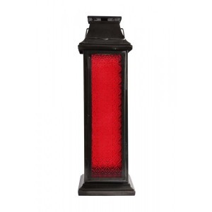 Lanterna de Metal Escuro com Vidro Vermelho Grande A61xL18xP18 cm