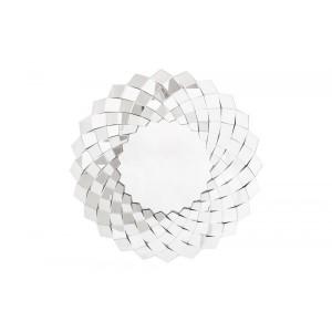 Espelho Veneziano Redondo Borda Espelhada Aspiral Quadriculada 100CM