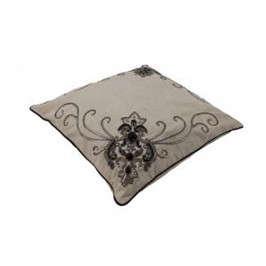 Capa para Almofada em Algodão Bege Bordada com Pedrarias 45x45 cm