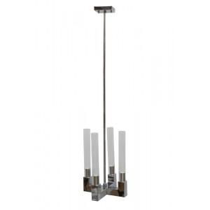 Lustre de Metal Cromado e Vidro - 4 braços 30X30X42CM