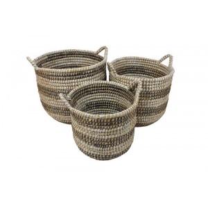 Cestos Cilíndricos em Fibra Natural c/ Alças e Listras Jg c/ 3 Pçs 42X40 cm