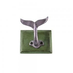 Cabide Gancho de Parede Criativo Cauda Baleia Madeira/Metal