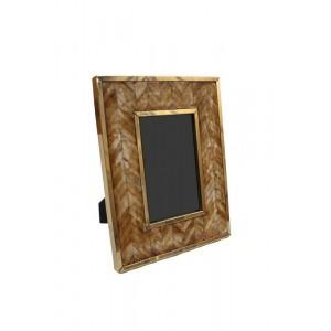 Porta Retrato em Osso Marrom Geométrico c/ Metal Dourado 10X15 cm