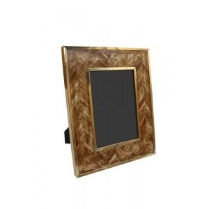 Porta Retrato em Osso Marrom Geométrico c/ Metal Dourado 12,5X17,5 cm