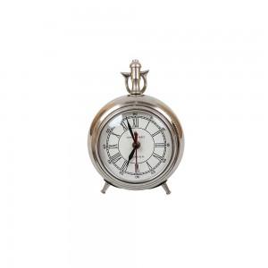 Relógio de Mesa em Metal Prata 17,5 cm