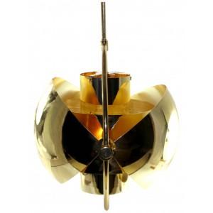 Pendente de Metal e Vidro Trabalhado 24X24X38CM
