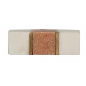 Puxador Bloco Branco e Cinza em Mármore e Detalhe em Metal Dourado A1,5XL5,5XP2,5 cm