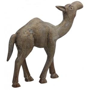 Estatua Camelo Madeira 10x36x38CM