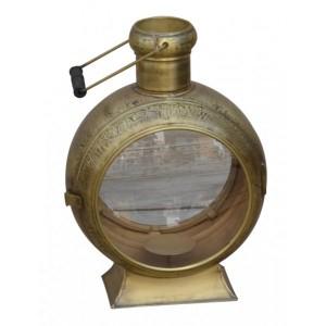 Lanterna de Metal Dourado Redondo com Suporte para Velas – Grande 36X34X56 cm