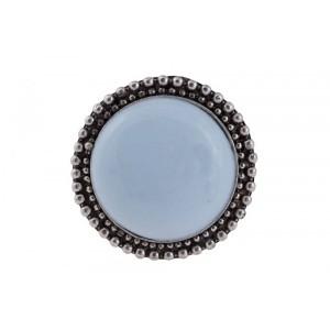 Puxador Decorativo Requinte Azul Cerâmica Detalhes em Metal