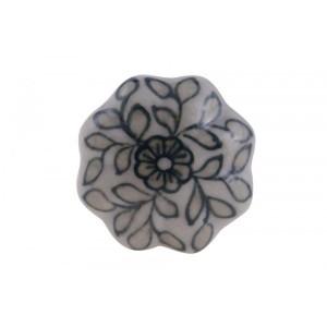 Puxador em Cerâmica Retrô Branco Floral 4,5x6cm