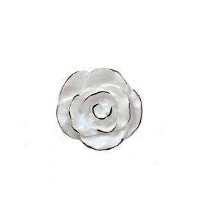 Puxador Luxuoso Provençal Flor Branca em Resina 3 x 3 x 6 cm