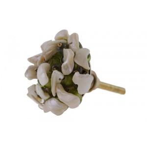 Puxador Dentes de Micangas Verde Branco A8xD5 cm