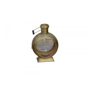 Lanterna de Metal Dourado Redondo com Suporte para Velas – Pequeno 23X33X46 cm