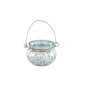 Cachepot p/ Vela em Vidro Metalizado Mellon Turquesa com Alça A5x6,5 cm