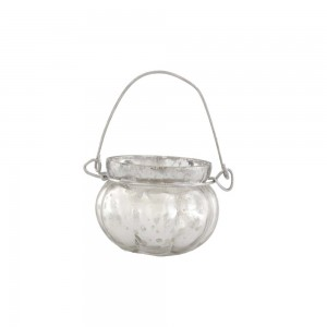 Cachepot p/ Vela em Vidro Metalizado Mellon Prata com Alça A5xD6,5 cm