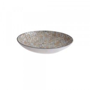 Fruteira Mosaico Alumínio  Madrepérola 9X32X32CM