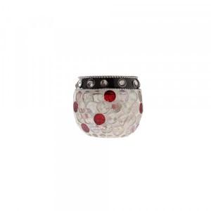 Cachepot em Vidro Incolor com Pastilhas Brancas e Vermelhas A7xD6 cm