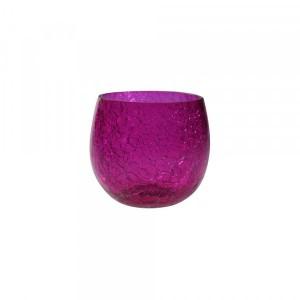 Cachepot p/ Vela de Vidro Craquelado Pink A7xD6 cm