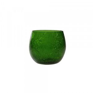 Cachepot p/ Vela de Vidro Craquelado Verde A7xD6 cm