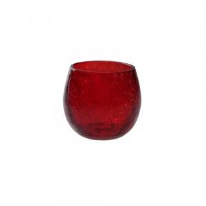 Cachepot p/ Vela de Vidro Craquelado Vermelho A7xD6 cm