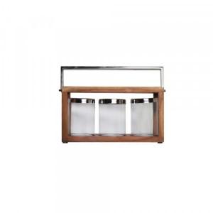 Lanterna de Madeira com 3 Porta Velas em Vidro e Alça de Aço Inox PolidoL 46X18,3X20 cm