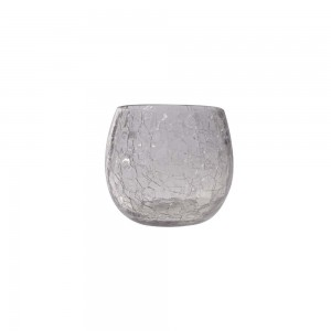 Cachepot p/ Vela de Vidro Craquelado Incolor A7xD6 cm