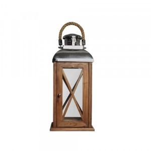 Lanterna de Madeira com Aço Inox e Alça em Corda 25X53CM