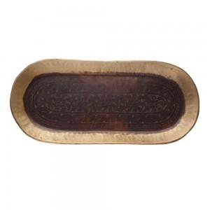 Bandeja em Metal Bronze Oval A3xL23xC50 cm