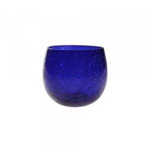 Cachepot p/ Vela de Vidro Craquelado Azul Royal A7xD6 cm