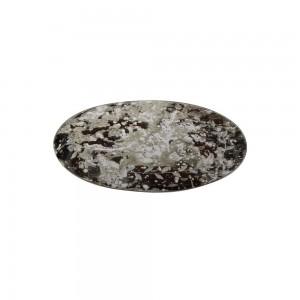 Base Oval em Vidro  Espelhado Rajado Decorado Folhas de Louro C29xL18 cm