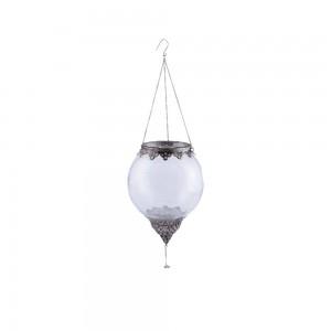 Suporte Vela Suspenso Globo em Vidro Incolor e Metal Trabalhado A26xD18 cm