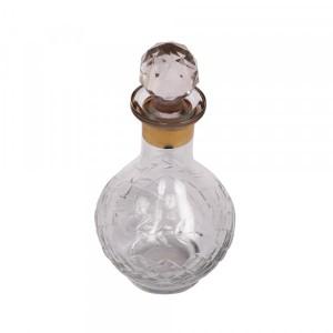 Perfumeira em Vidro Trabalhado c/ Tampa e Detalhe Dourado A15.5XD5 cm