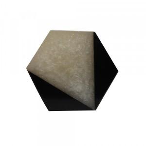 Puxador Requinte Hexágono Geométrico Preto Branco em Resina