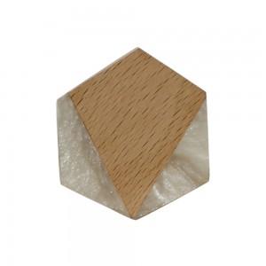Puxador Hexágono Geométrico Branco Réplica Madeira em Resina