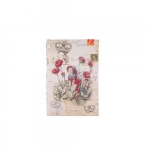 Caixa Livro Retangular em Madeira Vintage Post Card A3xC13,5xL9,5 cm