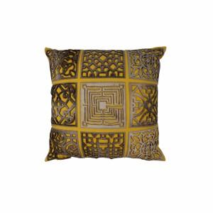 Capa de Almofada em Algodão Quadrada Bege/Amarelo com Recortes em Couro A45xL45 cm