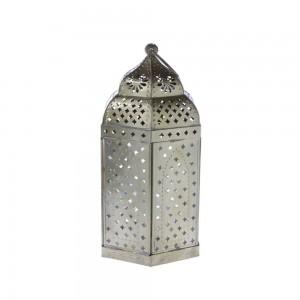 Lanterna de Metal Marroquina Dourada 18X18X40 cm