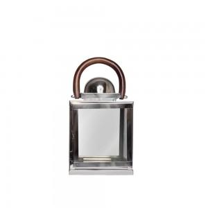 Lanterna Aço Inox Polido com Alça em Madeira 20,3X30,4 cm