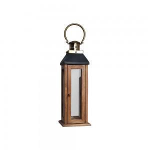 Lanterna de Madeira com Alça em Metal Dourado 20x20x60 cm