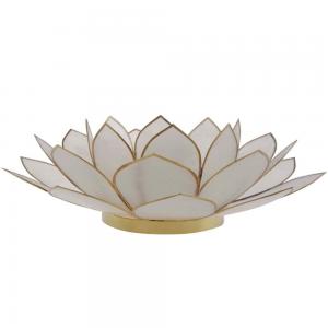 Suporte Flor Lotus p/ Vela Madrepérola Branco 8X25X25CM