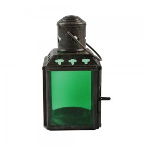 Lanterna de Metal e Vidro Verde com Suporte para Velas 6X6X11 cm
